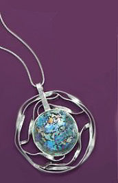 Sterling Silver Cut Out Circle Roman Glass Necklace