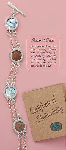 Sterling Silver Bracelet with Ancient Roman Glass & Antique Roman Coins