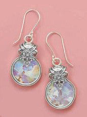 Sterling Silver Ancient Roman Glass Round Drop Earrings