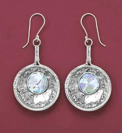 Sterling Silver Round Roman Glass Earrings