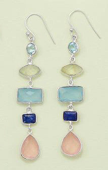 Sterling Silver Multistone Long Drop Earrings