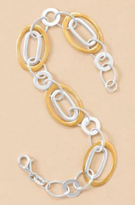 Sterling Silver Two Tone Polished Link Bracelet
