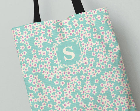 Personalized Kid's Tote Bag Set in Teal Poppy Fields