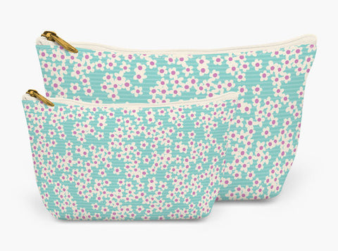 Set of Two Accessory Bag Pouches in Teal Wildflowers