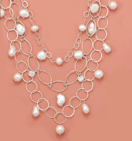 Sterling Silver Triple Strand Freshwater Pearls Necklace