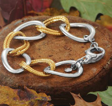 Sterling Silver Two Tone Large Hollow Link Bracelet