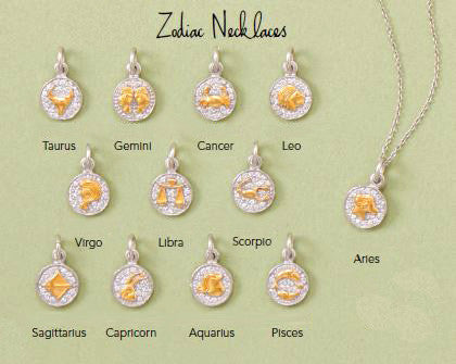Sterling Silver Two Tone Zodiac Sign Necklace