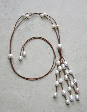 Pearl & Leather Waterfall Necklace