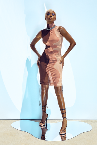 BIANCA MESH DRESS - BROWN
