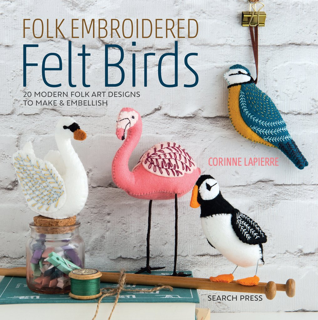 Folk Embroidered Felt Birds Book