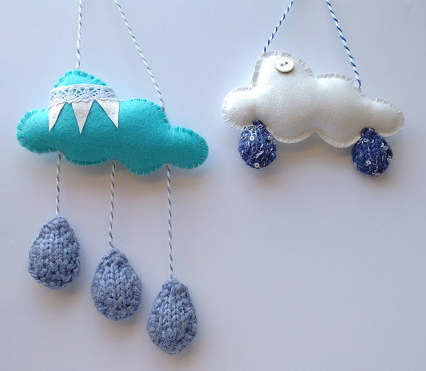 Cloud & raindrop ornament
