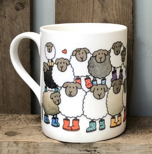Bone china Woolly Sheep mugs