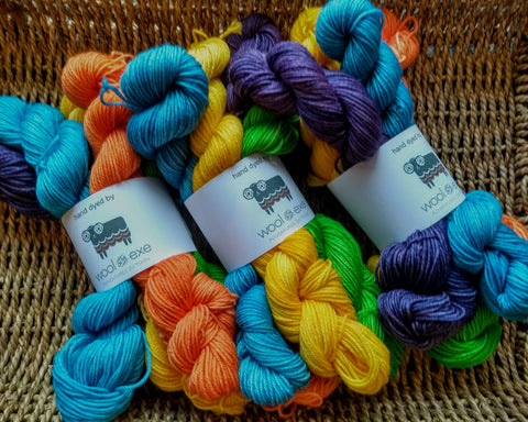 Rainbow mini skeins 4 ply