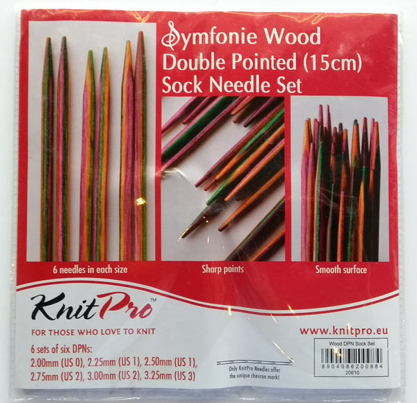 Symfonie wood double pointed sock needle set (15cm)