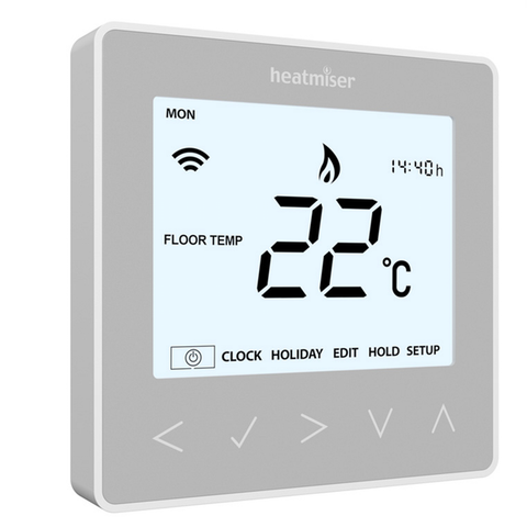 Heatmiser neoStat - 12v Programmable Room Thermostat - Platinum Silver