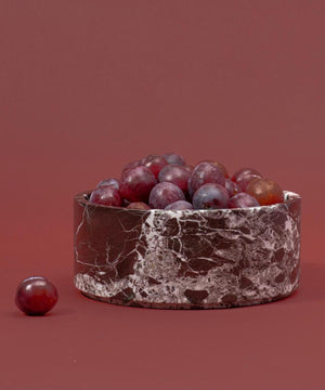 Stoned Marmeren Fruit Bowl Burgundy