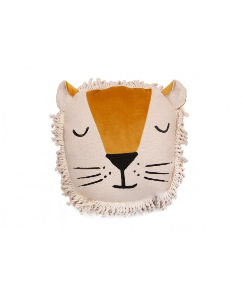 Nobodinoz Lion Cushion Farniente Yellow