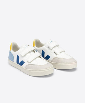 Veja Small V-12 Velcro White Multico Steel