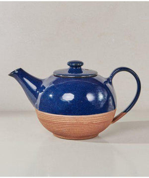Nkuku Mali Ribbed Teapot Navy and Terracotta