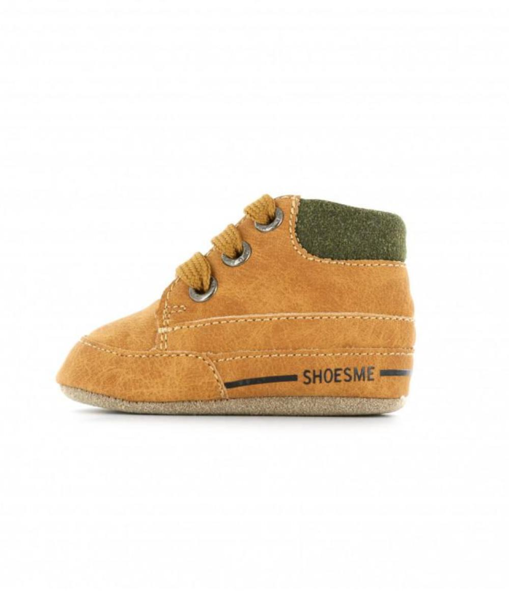 Shoesme Babyslofjes Met Vetersluiting Cognac