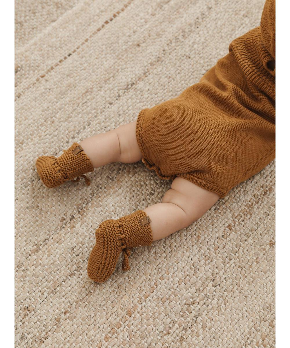 Quincy Mae Baby Knit Booties Walnut