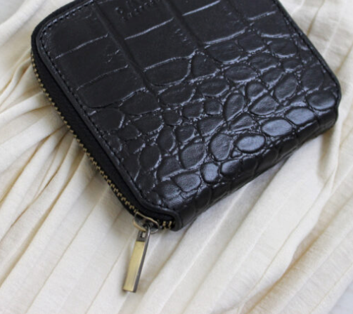 O My Bag Sonny Square Wallet Black Croco