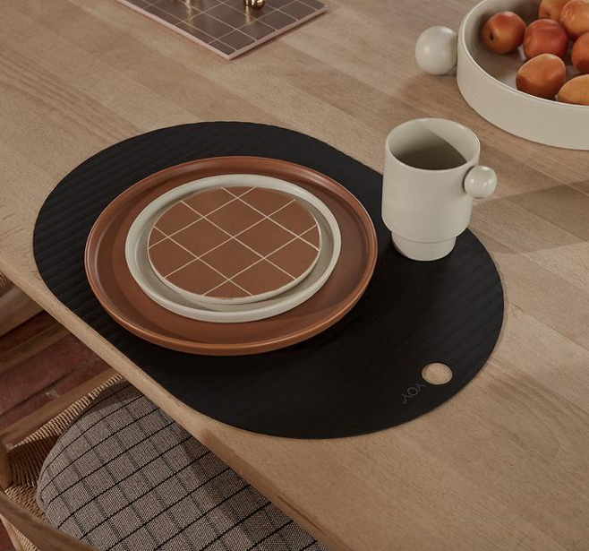 OYOY Silicone Placemat Ribbo Black