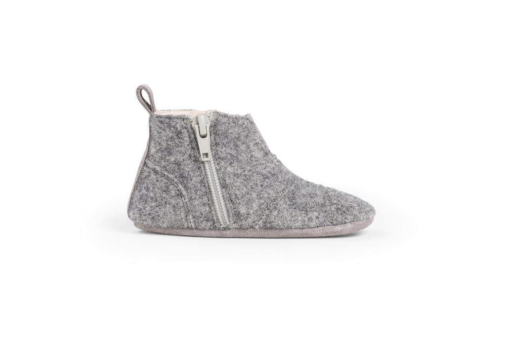 Dusq First Step Shoes Misty Grey Wool