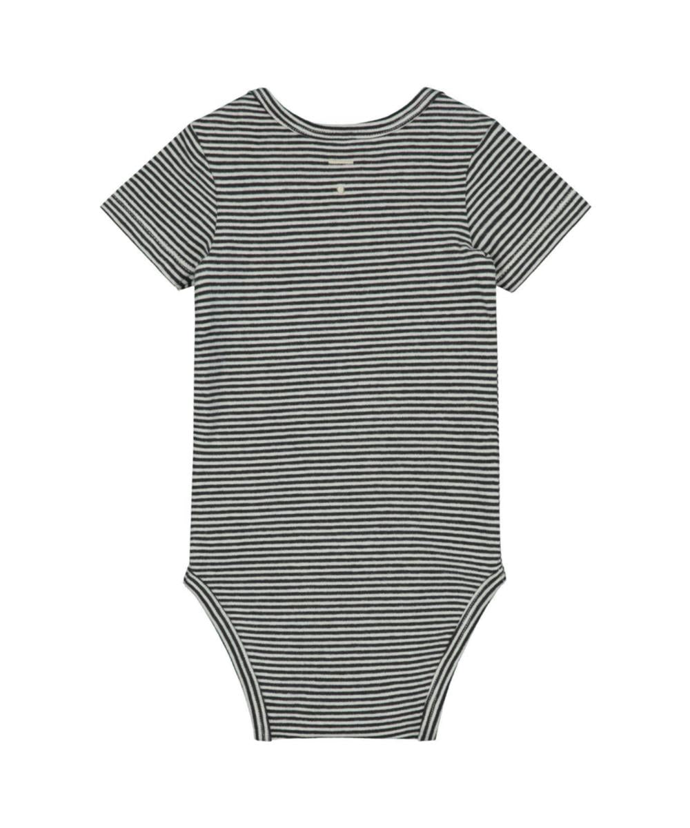 Gray Label Baby Onesie Nearly Black Stripes