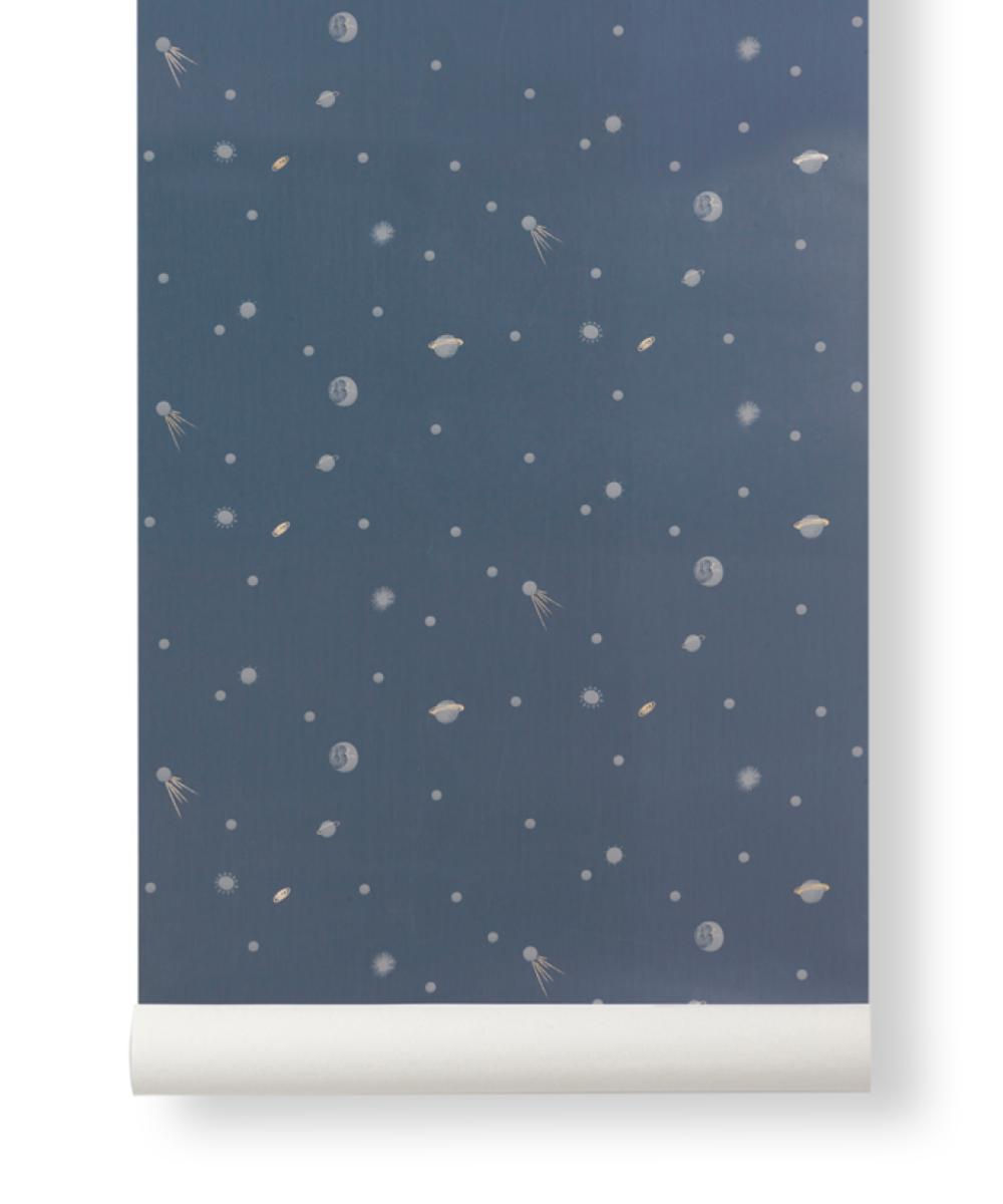 Ferm Living Behangpapier Moon Blue
