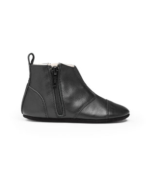 Dusq First Step Shoes Night Black Leather