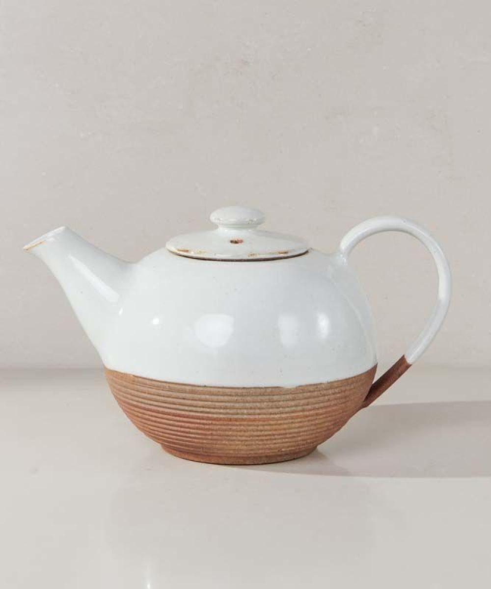 Nkuku Mali Ribbed Teapot White and Terracotta