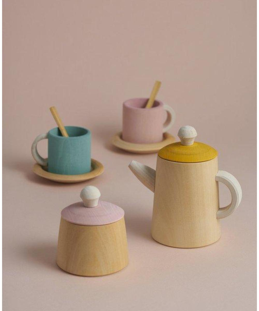 Raduga Grez Wooden Tea Set - Turkoois & Roze
