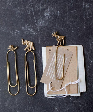 Nkuku Animal Paperclips Brass Set/3