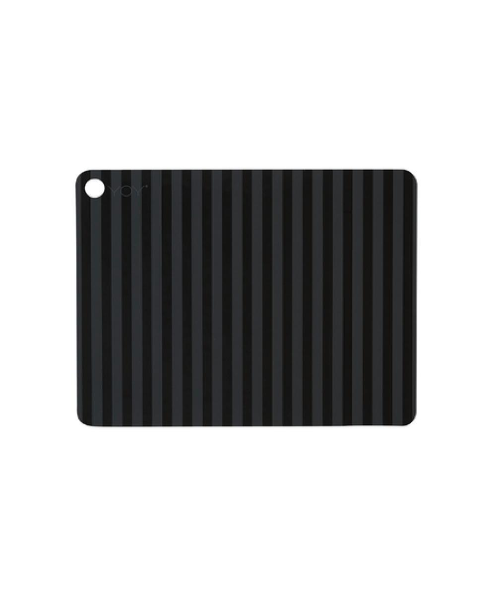 OYOY Silicone Placemat Striped Anthracite/Zwart 2 pack