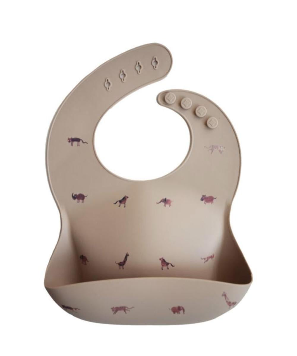 Mushie Silicone Bib - Brown Safari