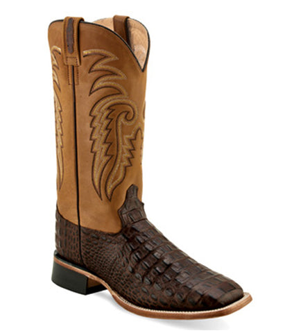 Old West Men's Gator Print Square Toe Boots