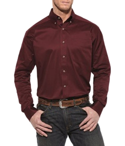 Ariat® Western Shirt Mens Solid Twill Burgundy