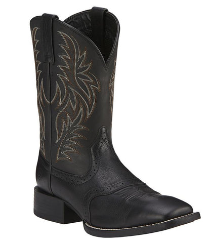 Ariat® Mens Black Sport Western Wide Square Toe Boots