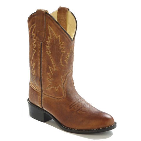 Old West Kids' Tan Brown Leather Western Boots
