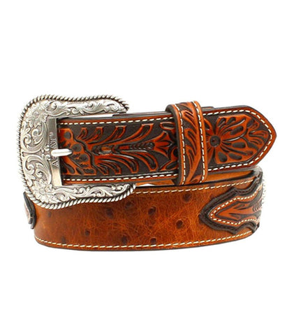 ARIAT® BROWN OSTRICH PRINT LEATHER BELT