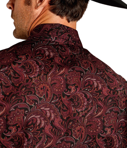 Stetson© Men's Wine Paisley Shirt