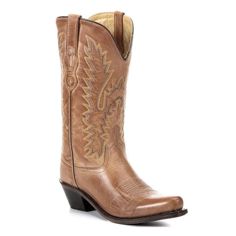 Old West Women's Tan Canyon Leather Snip Toe Western Boots