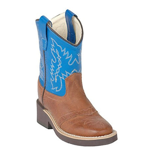 Old West Children's Tan Canyon w/ Blue Top Saddle Vamp Western Boot