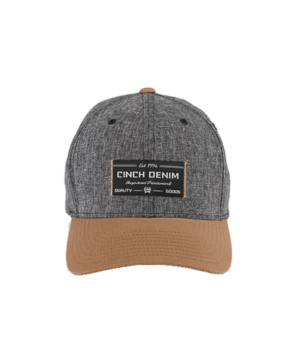 CINCH MENS FLEXFIT BASEBALL CAP - GRAY/TAN