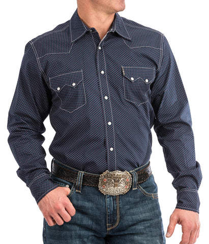 Cinch Men's Navy Geometric Print Western Snap Shirt