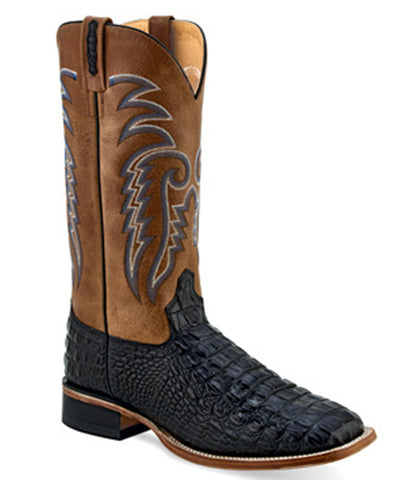 Old West Men's Black Gator Print Square Toe Boot