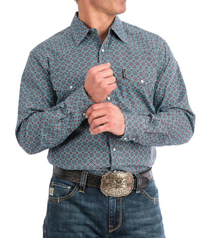 Cinch Men's Blue And Red Geometric Print Western Snap Shirt