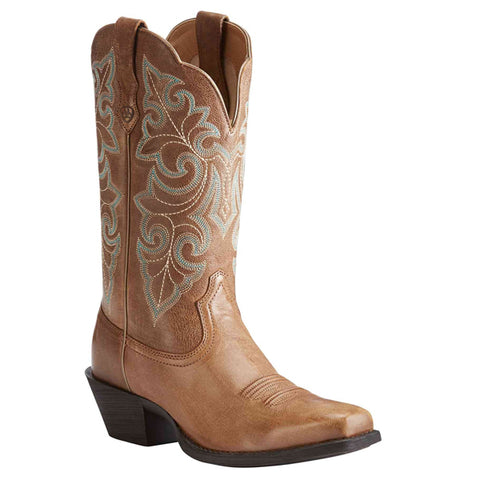Ariat® Ladies Performance Round Up Square Toe Brown Cowboy Boots