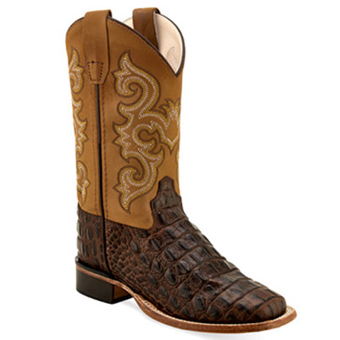 Old West Youth Horn Back Gator Print Boots